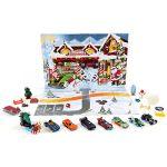Mattel Calendrier de l'avent, contient 24 surprises dont 8 petites voitures décorées et 16 accessoires, pour enfants dès 3 ans, GJK02