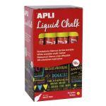 APLI 16901 - Boîte de 12 marqueurs à craie liquide, pointe ronde 5,5 mm, jaune