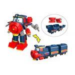 Silverlit Robot Trains - Figurine Transformable Victor avec accessoires et 2 wagons - 12 cm