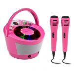 Auna Système Karaoké SingSing BT - 2 x micro - lecteur CD - BT - effet lumineux mobile - Rose