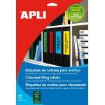 APLI 01374 - 80 étiquettes jaunes pour dos de classeur, format 190 x 61 mm (20 feuilles / cdt)