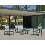 Hévéa Salon de jardin en aluminium 4 places Awena Gris anthracite