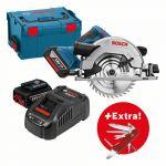 Bosch Scie circulaire sans-fil GKS 18V-57 G + 2 batteries 5,0 Ah + couteau pliant Victorinox dans L-BOXX - 0615990K5J