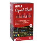 APLI 16902 - Boîte de 12 marqueurs à craie liquide, pointe ronde 5,5 mm, rouge