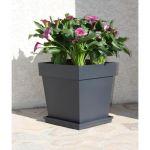 """Eda Plastiques Pot de fleurs """"Toscane"""" - Carré 38L gris anthracite 39x39x39cm"""
