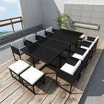 VidaXL Ensemble à dîner d'extérieur 33 pcs Rotin synthétique Noir