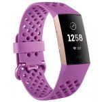 Fitbit Charge 3 - Bracelet d'activité forme et sport - Aluminium or rose/violet