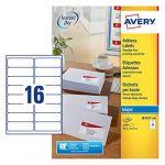 Avery-Zweckform Avery Réf J8162 Étiquettes adresse Séchage instantané Jet d'encre 99,1 mm x 33,9 mm Blanc 16 étiquettes / feuille 1600 étiquettes total (Import Royaume Uni)