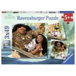 Ravensburger La légende du bout du monde, Vaiana - 3 puzzles 49 pièces