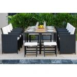 Beau Rivage Ensemble repas de jardin encastrable 8 personnes- table 225x110cm +8 fauteuils résine tressée +4 poufs- Bois Acacia FSC - BOTANICA