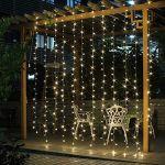 Salcar Rideau Lumière 9 * 3m LED imperméable 900er LED chaîne Lumière Blanc Chaud pour Décoration Rideau, Fenêtre, Jardin, Terrasse, Fêtes, Mariage