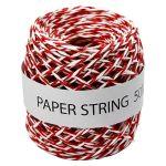 Ficelle de papier Ep 1 mm 50 m Rouge et Blanc