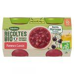 Blédina Dessert Bébé Dès 10 Mois Pommes Cassis Petits Morceaux Bio - Le Lot De 2 Pots De 130g