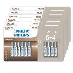 Philips Lot de 60 Piles Aaa (6 Packs de 6+4)