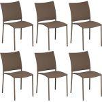 Proloisirs Chaise de jardin design Bonbon (Lot de 6) Café