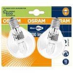 Osram Lot de 2 ampoules sphériques halogènes 46W = 700Lm (équiv. 60W) E27 2700K