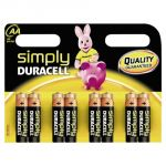 Duracell 8 piles alcalines AA LR06 1.5V Simply
