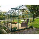 Chalet et Jardin Serre de jardin 128 en verre trempé 8,88 m2 avec base d'ancrage