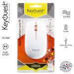 Keyouest Urban - Souris - optique - 3 boutons - sans fil - 2.4 GHz - récepteur sans fil USB - blanc/orange