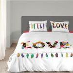 Good Morning Flower Love - Housse de couette et 2 taies 100% coton (200 x 200 cm)