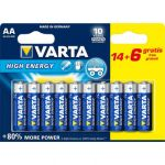 Varta Piles High Energy LR6 X14 + 6 gratuites
