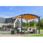 Foresta Habrita - Pergola arche structure mixte aluminium/acier gris anthracite 11,22 m2 toiture rouille 140 gr/m2 - PER3433GR