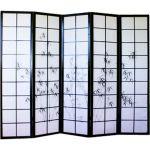 Pegane Paravent japonais en bois noir dessin bambou de 5 pans -