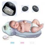 Sotech Balance électronique pour bébés, balance pour bébés, balance pour animaux de compagnie, pesage pratique et précis, avec musique et ruban à mesurer, bleu