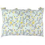 Tête de lit coussin 100% coton imprimé MISTIGRI - 50x70 cm - Gris, jaune et blanc - 50x70 cm - Coloris : gris, jaune et blanc - Enveloppe : 100% coton - Garnissage : 100% polyester