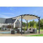Foresta Habrita - Pergola arche structure mixte aluminium/acier gris anthracite 11,22 m2 toiture écru 140 gr/m2 - PER3433GE