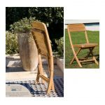 Ezeïs 2 Chaises de jardin pliante en teck Rotonde