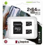 Kingston Canvas Select Plus - Carte mémoire flash (adaptateur microSDXC vers SD inclus(e)) - 64 Go - A1 / Video Class V10 / UHS Class 1 / Class10 - microSDXC UHS-I (pack de 2)