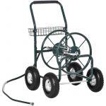 Outsunny Dévidoir sur roues 70 m - dévidoir métal - dévidoir chariot - enrouleur tuyau d'arrosage - poignée antidérapante, panier rangement - métal