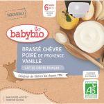 BabyBio Gourdes Brassé Chèvre Poire Vanille dès 6 mois - 4x85 gr