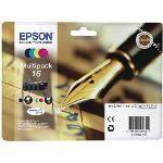 Epson T1626 - Multipack de 4 cartouches d'encre n°16 noire, cyan, jaune et magenta