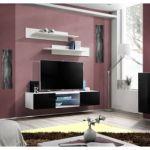"Meuble TV Mural Design ""Fly III"" 160cm Noir & Blanc"