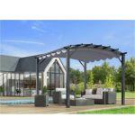 Foresta Habrita - Pergola arche structure mixte aluminium/acier gris anthracite 11,22 m2 toiture gris 140 gr/m2 - PER3433GG