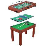 Table multi jeux 3 en 1 : billard, ping pong et baby foot