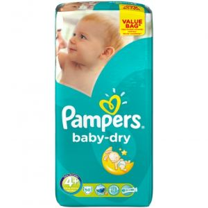 Pampers Baby-Dry taille 4+ Maxi+ (9-20 kg) - Value Bag x 50 couches