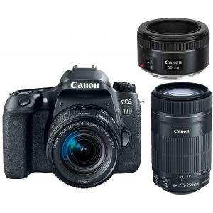 Canon EOS 77D (avec 3 objectifs 18-55mm, 55-250mm et 50mm)