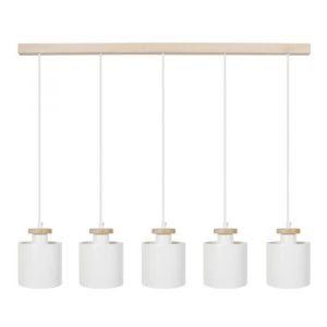 UZIBUZE Lustre 5 têtes en bois et acier L90 x Ø13,5 x H90 cm Blanc E27 5x40W