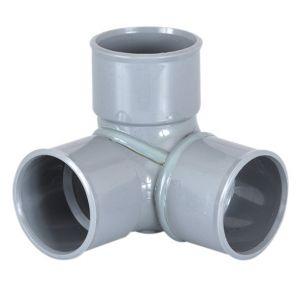 GIRPI Adaptateur PVC gris coudé équerre 87°30 - Ø 40 mm - Triple emboîture -