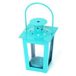 Lanterne carrée en métal 7,5x7,5x12cm - Turquoise - Lanterne carrée en métal - Dimensions : 7,5x7,5x12cm - Coloris : turquoise.