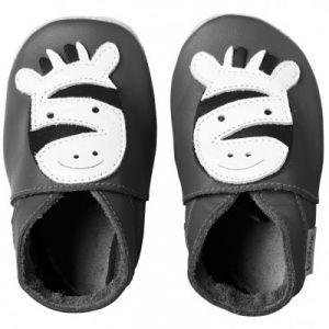 Bobux Soft sole Zèbre gris - Chaussons cuir bébé