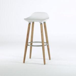 SALOMON Tabouret de bar design blanc - Pieds hetre massif - 51x51x80,5 cm - Pieds hêtre massif - Assise en ABS blanc - Repose-pied en métal chromé