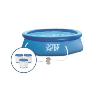 Intex Kit Piscine autoportante Easy Set - 3,05 m x 76 cm + 3 Cartouches H 28122XA - Bleu