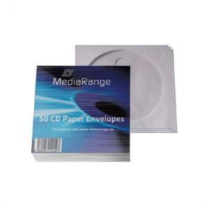 MediaRange 50 enveloppes à fenêtre pour CD/DVD 12,4 x 12,4 cm