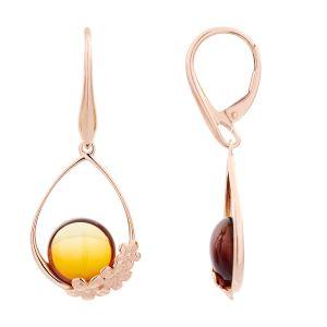 Cleor Boucles d'oreilles en Argent 925/1000 Rose et Ambre Orange