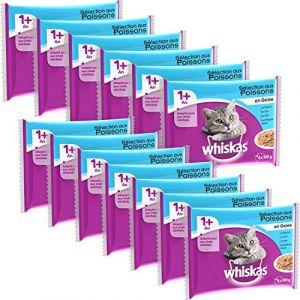 Whiskas Sachets de gelée de poisson pour chat - Lot de 13 - 4 x 100 g