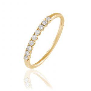 Histoire d'Or Eloise - Demi-alliance en or 750 ornée de diamants - doré